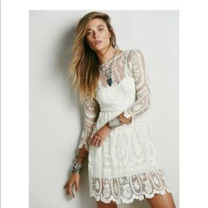 Free People L Teardrop Pixie lace dress cream